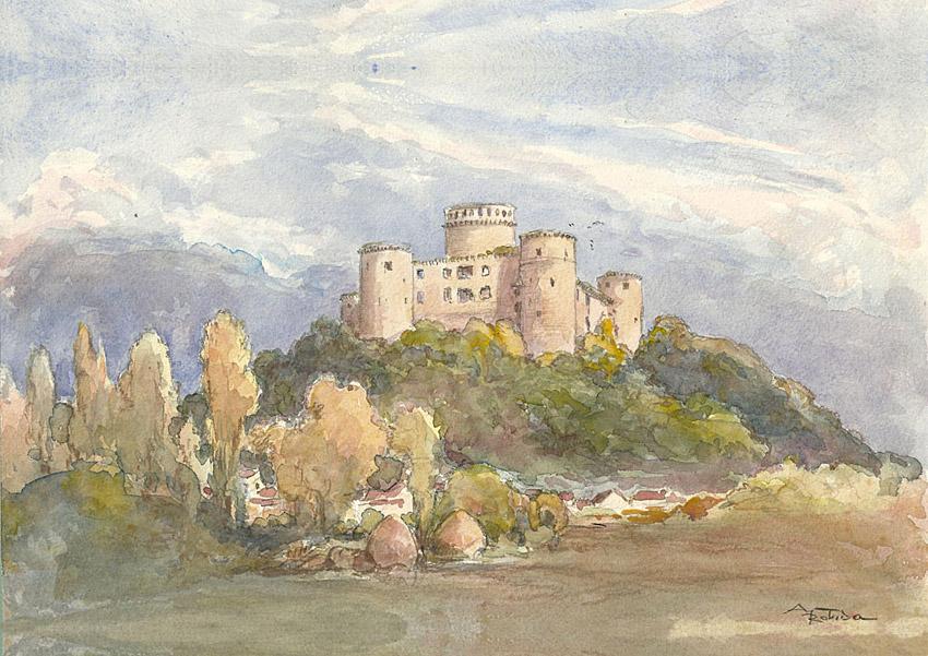 Aquarelle du chateau de Coucy avant destruction.